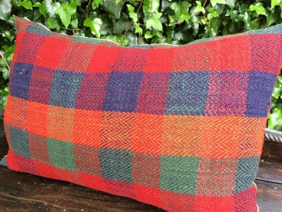 red and orange pillow -vintage hand woven natural wool pillow , farmhouse decor, check pillow , lumbar pillow , jajim pillow
