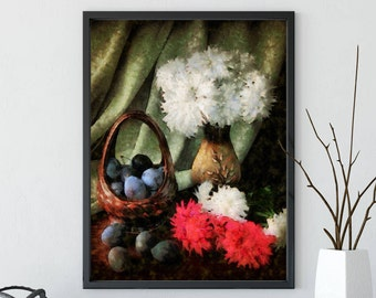 Classic still life with flowers and fruit, art print, still life poster, painting flowers, digital download, home decor
