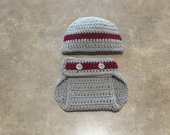 Scarlet and Gray Diaper Cover