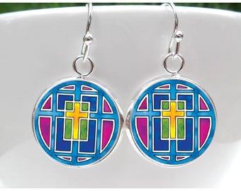Cross Earrings First Communion Gift for Girls - Confirmation Gift - Confirmation Earrings colorful - Religious - Gift for Catholic girl