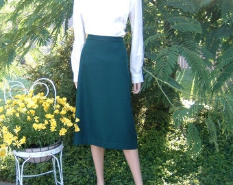 Phthalo Green color Wool Fully Lined Straight Skirt by Koret Size 24