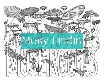 "Digital Colouring Page ""Mushroots"""