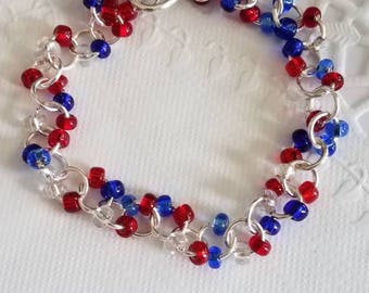 Happy 4th of July Bracelet, Red, White & Blue Bracelet,