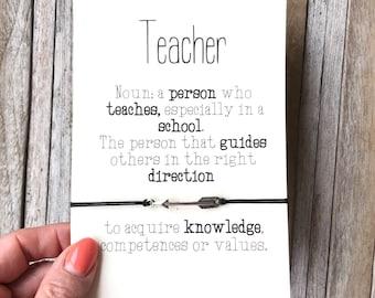 Teacher gifts, Teacher appreciation gift, Teacher thank you, Teacher birthday gift, Teacher jewelry, Friendship bracelet, Teacher quote, A78
