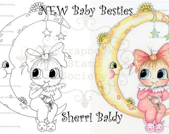 INSTANT DOWNLOAD Digital Digi Stamps Big Eye Big Head Dolls Digi   Besties IMG747 By Sherri Baldy