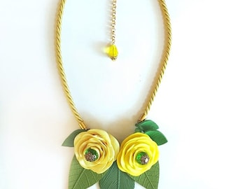 Yellow Rose and Leaf Statement Necklace, Statement Jewelry, Polymer Clay Flower Necklace