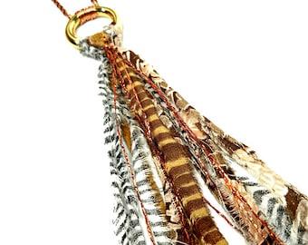 Fabric Jewelry,  Boho Tassel Necklace,  Long Necklace, Wearable Art Jewelry, Boho Jewelry, Animal Print, Tribal, Pendant