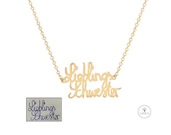 "Gold 925 silver ""hand written/signature"" chain"