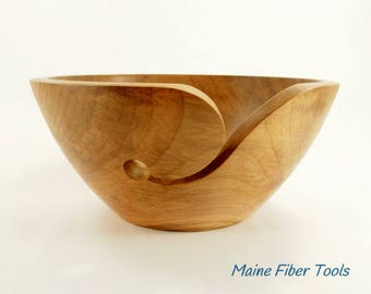 Wooden Yarn Bowl- Sugar Maple- Wooden Knitting Bowl- Unique Gift- Maine Fiber Tools