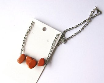 Red Jasper Necklace on Stainless Steel Chain. Nickel Free.