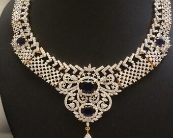 Sapphire Nizam Gulubandh Necklace,Indian Wedding Jewelry,Statement Jewelry,Statement Necklace, Blue Choker, Blue Necklace
