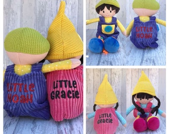 Personalised frabic dolls - him and her - christening gift - pair of soft plush toys - gift for her - gift for him