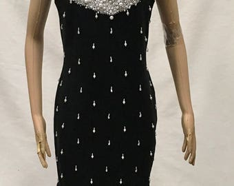 Beaded Wiggle Dress Evening Little Black Dress Party Clubwear Outlander Vintage Size 8 Christmas LBD