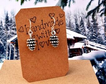 Pine Cone Earrings - Dangle Earrings - Winter Jewelry - Christmas Holiday Earrings, Handmade Jewelry, Woodland Earrings, Rustic Jewelry