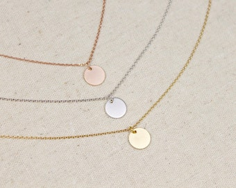 Small Flat Disc Necklace | Circle | Custom Disc Necklace | Minimalist | Layering | Tiny | Round | Gift for Her | Mothers Day Gift