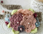 CROCHET PATTERN Flower Headband Crochet Pattern,crocheted headband,crochet flower headband,photo tutorial, crocheted flowers, head scarf