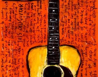 Guitar Art | Guitar Painting | Neil Young Martin Acoustic guitar Hank art print This Old Guitar
