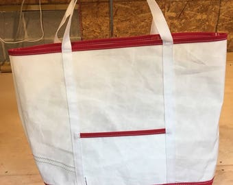Sail Cloth - Recycled Sail Tote with Red and White