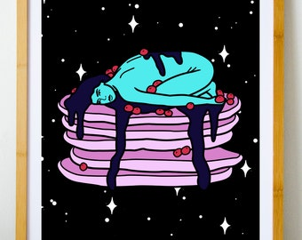 Cosmic pancake - Woman on a pile of pancakes || cosmic triptych