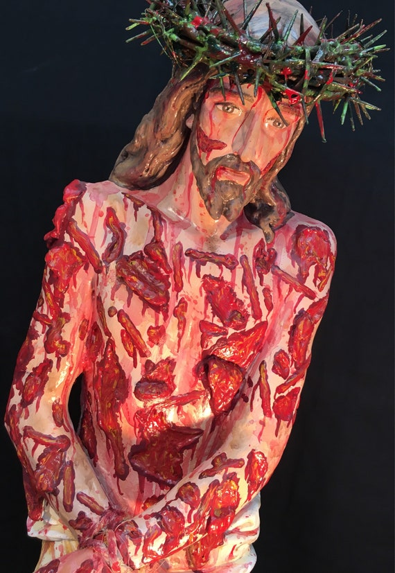 """Scourged Jesus 36"""" fiberglass statue -  May His Precious Blood wash us clean."""