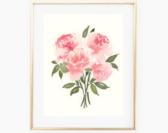 Peach Peonies 8x10 Original Watercolor