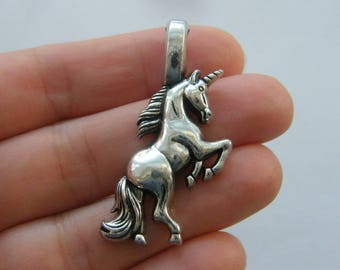 BULK 3 Unicorn charms antique silver tone A840