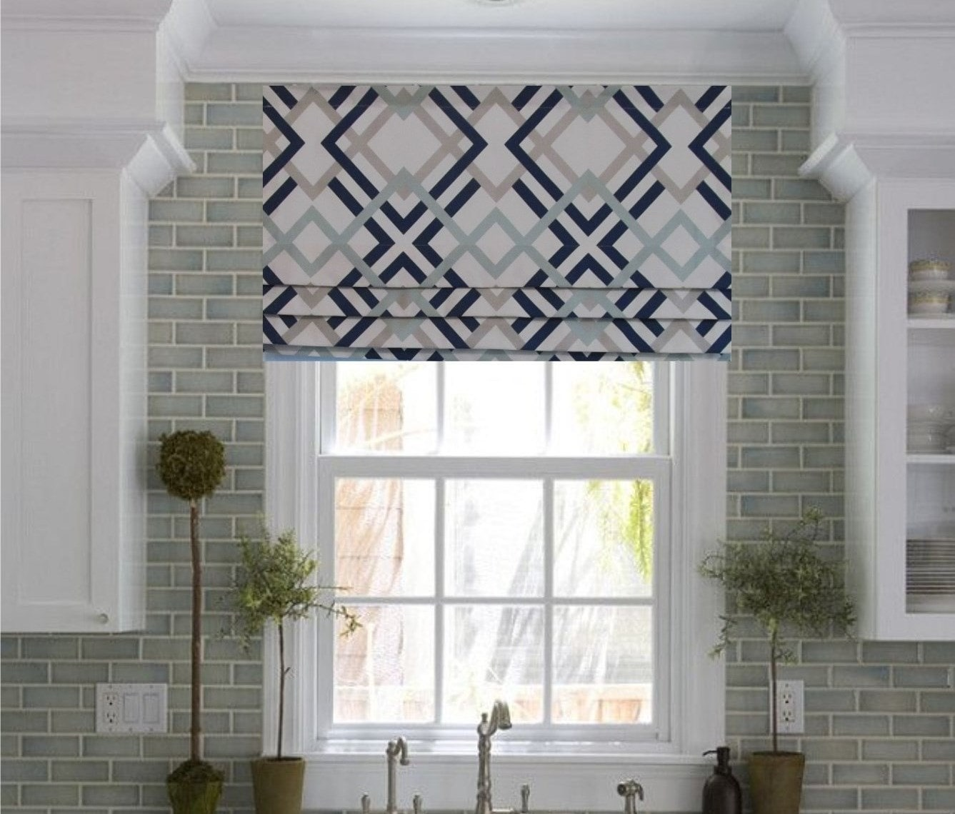 Frilled Kitchen Curtains Lined: Faux Roman Shade Lined Mock Valance Geometric Print Navy/