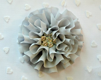 "Gray Chiffon Flower. 3.5"" Ruffled Chiffon Flower. Rhinestone Center. QTY: 1 Flower. Anais Collection. A2-SF-001a"