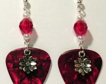 Poinsetta Flower Christmas Charm on Guitar Pick Beaded Earrings - Handmade in USA