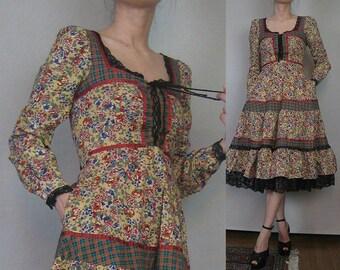 70s GUNNE SAX PLAID Floral Calico vtg Corset Lace Up Jade Mint Cherry Ecru Cotton Lace Midi Victorian Peasant Dress xs Small 1970s
