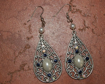 Filigree Teardrop Earrings with pearl and rhinestone accents