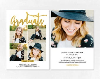 Senior Graduation Announcement Template for Photographers PSD Flat card - Graduation Template - Photography Template  G055