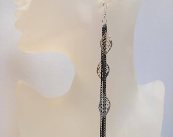Long dangle earrings black chains with leaves
