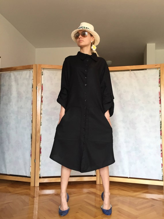 Black Dress Classic Linen Collar Dress Sleeved Clothing Dress Linen Fit Dress Black Long Loose Shirt Dress Linen Womens B08qY