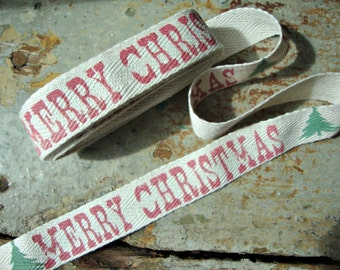 Rustic Merry Christmas Cotton Twill Ribbon with Christmas Trees