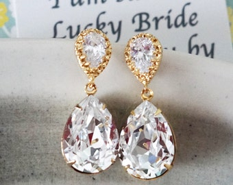 Sandra - Wedding Bridal Swarovski Crystal Teardrop Earrings, Bridesmaid Earrings, Bridal Jewelry, Wedding Jewelry