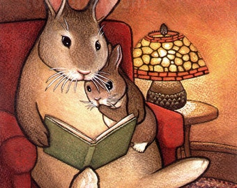 8x10 Bunny Rabbit Storytime Fairy Tale Signed Print