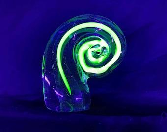 Handmade UV Reactive Curled Paperweight - glows under blacklight!!!