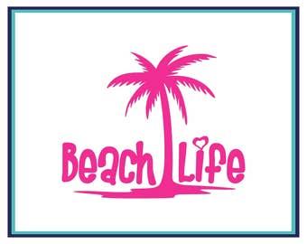 Beach Life Decal - Palm Tree Decal - Beach Life Car Decal - Window Decal - Laptop Decal - Beach Decal Sticker - Yeti Decal - Beach Life -