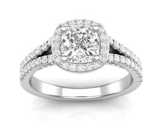 White Gold Cushion Halo Ring For Her Engagement Ring Split Shank Ring Semi Mount Cushion Center Colorless Forever One Moissanite Center 14K