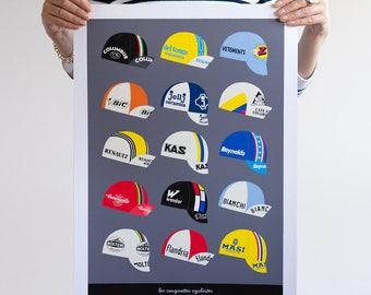 Classic Cycling Caps Print, Tour de France Art