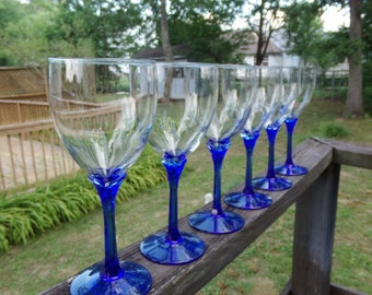Cobalt Blue Stemware, Set Of 6 Wine Glasses, 8 Ounce Glasses, Hexagon Stems, 8 Inches Tall, 3 1/4 Inch Diameter Opening, Barware