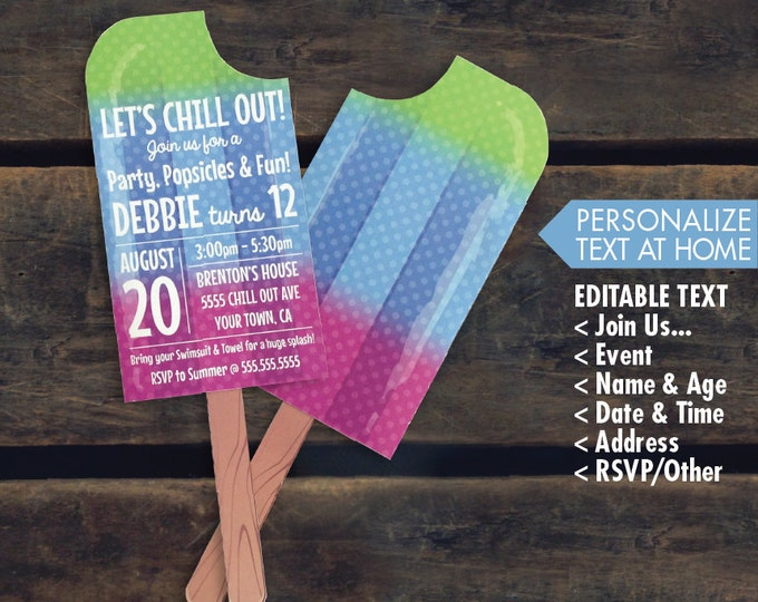 Popsicle Invite- Ice Lolly Party, Summer Party, Beach Party, Pool Party, Birthday - Multi 2 - Editable Text - INSTANT Download PDF Printable