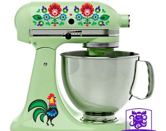 Dutch-Folk-Art-Rooster-and-Flowers Stand Mixer Wrap Front & Back Decal Set Full Color