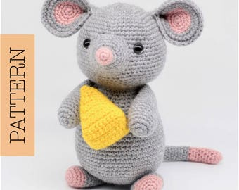 Crochet Amigurumi Mouse PATTERN ONLY, Remington Mouse, pdf Pattern, ENGLISH only