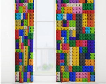 Lego Window Curtain-Lego Bricks Curtain-Fun Decor-Kids Bedroom Decor-Sheer Curtain-Privacy Curtain-Single Panel Curtain-Toy Room Curtain