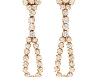 Vintage Diamond Bow Drop Earrings set in 18 KT Gold