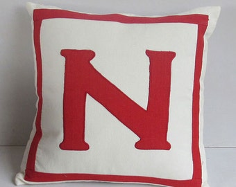 Letter N off white and red monogrammed pillow cover 18 inch IN STOCK