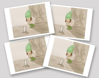Hello Tiny Puppy - Pack of 4 x A6 postcards (same design)