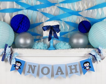 PENGUIN BIRTHDAY BANNER / Winter onederland birthday banner / Penguin baby shower / 1st birthday boy. 1st birthday banner. Winter wonderland